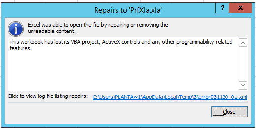 This workbook has lost it's VBA project, ActiveX controls