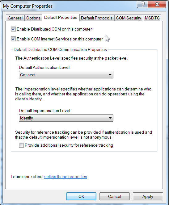 Configuring Distributed Component Object Model (DCOM) for use with